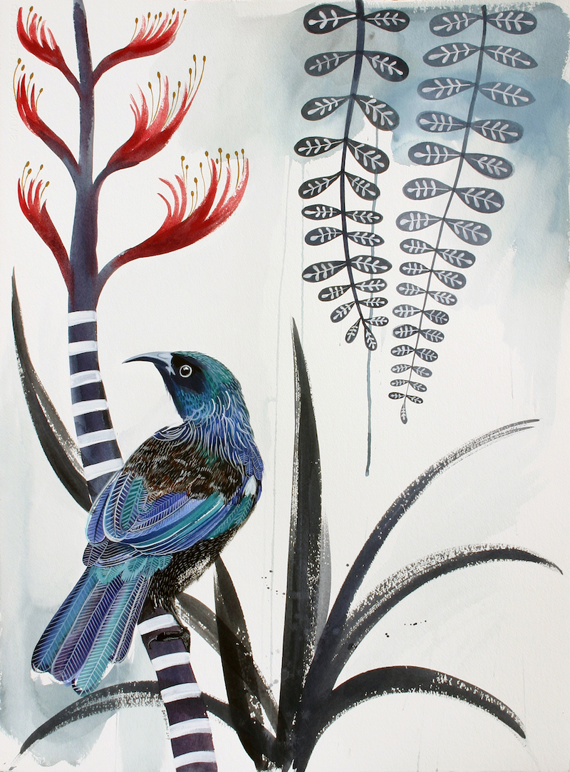 (CreativeWork) Tui, Flax Flower and Kowhai Leaves. by Sally Browne. other-media. Shop online at Bluethumb.