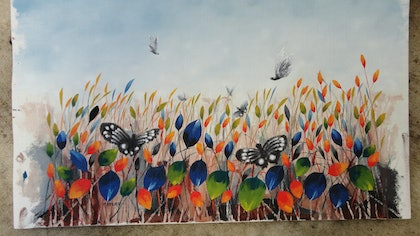 (CreativeWork) THE GATHERING by edward mitford. oil-painting. Shop online at Bluethumb.