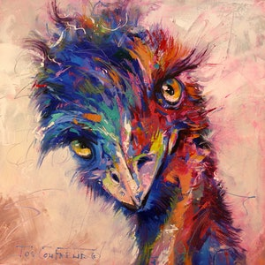 (CreativeWork) Emu 3 by Jos Coufreur. arcylic-painting. Shop online at Bluethumb.