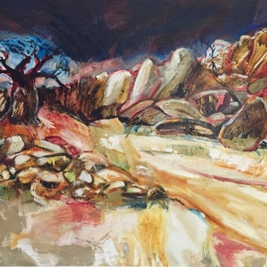 (CreativeWork) Island in the Kalahari by Trevor Purvis. oil-painting. Shop online at Bluethumb.