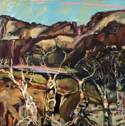 (CreativeWork) Diamantina billabong by Trevor Purvis. oil-painting. Shop online at Bluethumb.