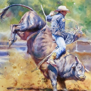 (CreativeWork)  Rodeo by Richard(Tiejun) Chao. watercolour. Shop online at Bluethumb.
