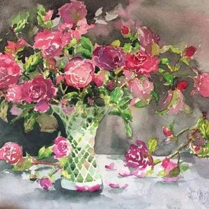 "(CreativeWork) ""Roses from my Garden"" by Kim McGee Apm. watercolour. Shop online at Bluethumb."