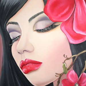 (CreativeWork) ''Read lipstick'' in oil by Ema mullalli. Oil Paint. Shop online at Bluethumb.