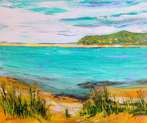 (CreativeWork) View from Great Ocean Road by Helen Dubrovich. Acrylic Paint. Shop online at Bluethumb.