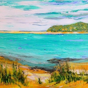 (CreativeWork) View from Great Ocean Road by Helen Dubrovich. arcylic-painting. Shop online at Bluethumb.