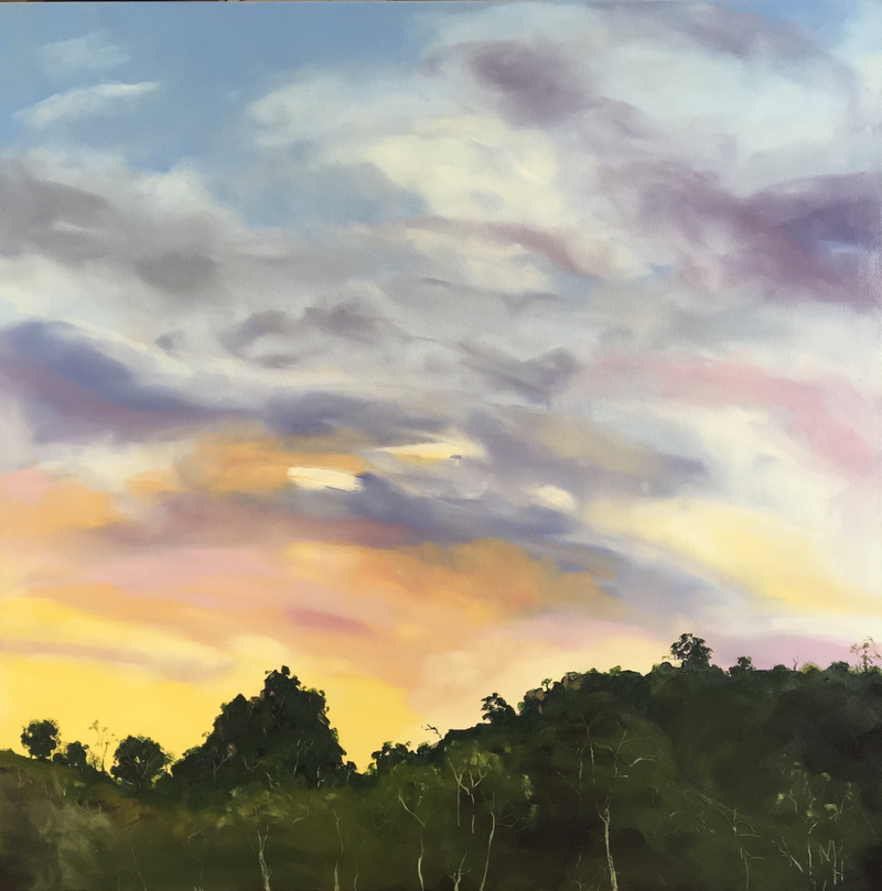 (CreativeWork) Sunset over Adelong by Meredith Howse. oil-painting. Shop online at Bluethumb.