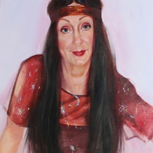 "(CreativeWork) ""Pretending to be Cher"" by Pauline Adair. oil-painting. Shop online at Bluethumb."
