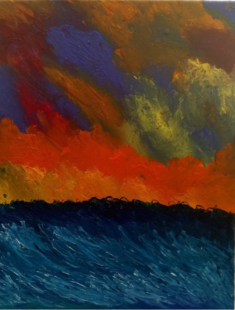 (CreativeWork) Impressionist sunset by Dynan Nikieran. oil-painting. Shop online at Bluethumb.