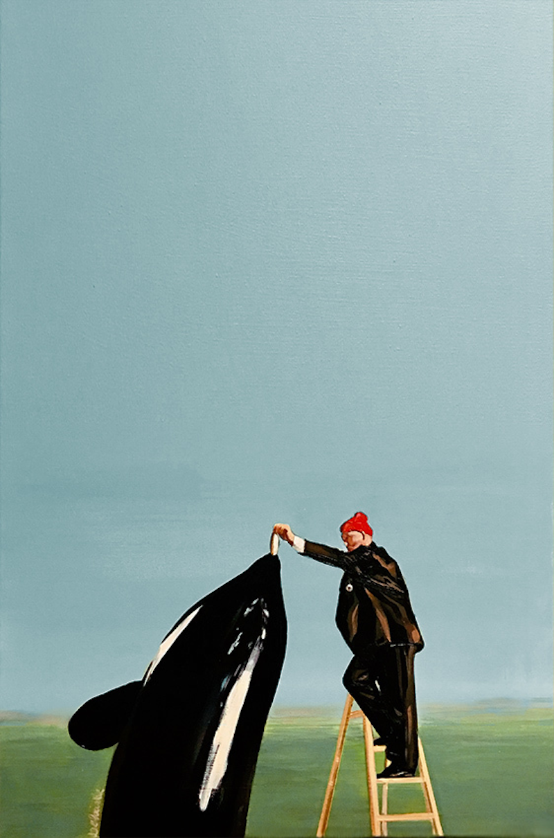 (CreativeWork) Zissou feeding Whale on Pescespada Island by Donna Christie. arcylic-painting. Shop online at Bluethumb.