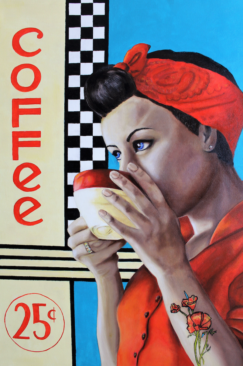 (CreativeWork) 50's Cafe by Janice Bryant. oil-painting. Shop online at Bluethumb.
