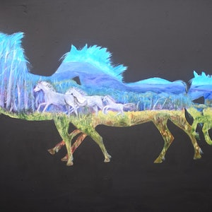 (CreativeWork) Running free by Elena Dickman. acrylic-painting. Shop online at Bluethumb.