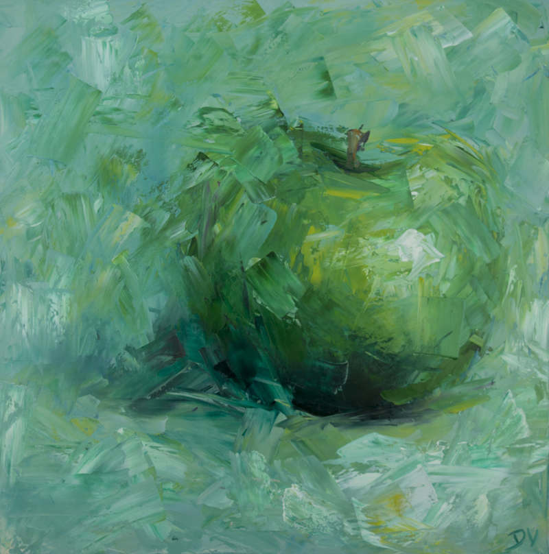 (CreativeWork) Still life abstract apple green. by Damien Venditti. oil-painting. Shop online at Bluethumb.