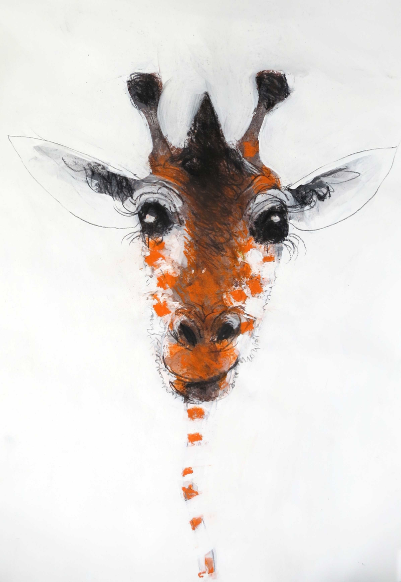 (CreativeWork) Giraffe on white  by John Graham. mixed-media. Shop online at Bluethumb.