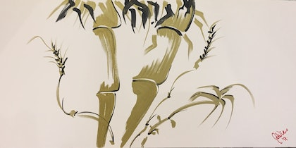 (CreativeWork) Golden Bamboo by Natalie Penna. arcylic-painting. Shop online at Bluethumb.
