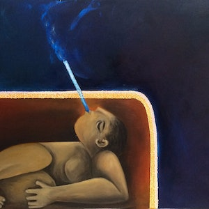 (CreativeWork) Breathing Through a Straw by Saren Dobkins. oil-painting. Shop online at Bluethumb.