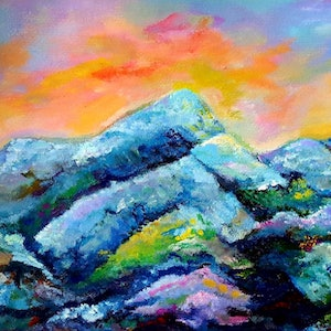 (CreativeWork) The Sunset on Mountains  by Winnie Fu. arcylic-painting. Shop online at Bluethumb.