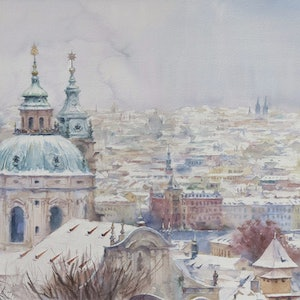 (CreativeWork) Snowy Prague by Richard(Tiejun) Chao. watercolour. Shop online at Bluethumb.