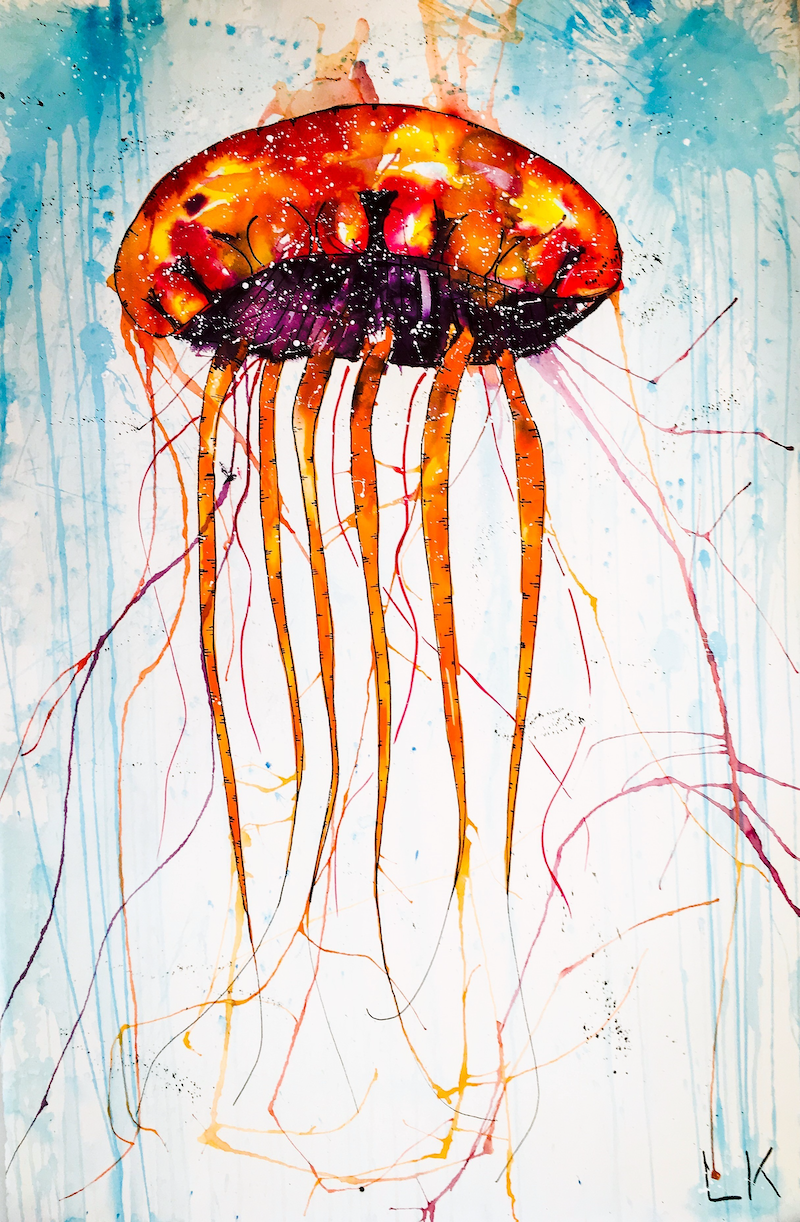 (CreativeWork) Jellyfish 2.0 by Leith Kennedy. mixed-media. Shop online at Bluethumb.