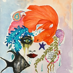 (CreativeWork) BOHEMIAN MERMAID by April Lockwood. mixed-media. Shop online at Bluethumb.