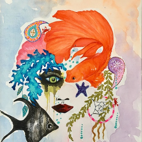 (CreativeWork) BOHEMIAN MERMAID by April Lockwood. Mixed Media. Shop online at Bluethumb.