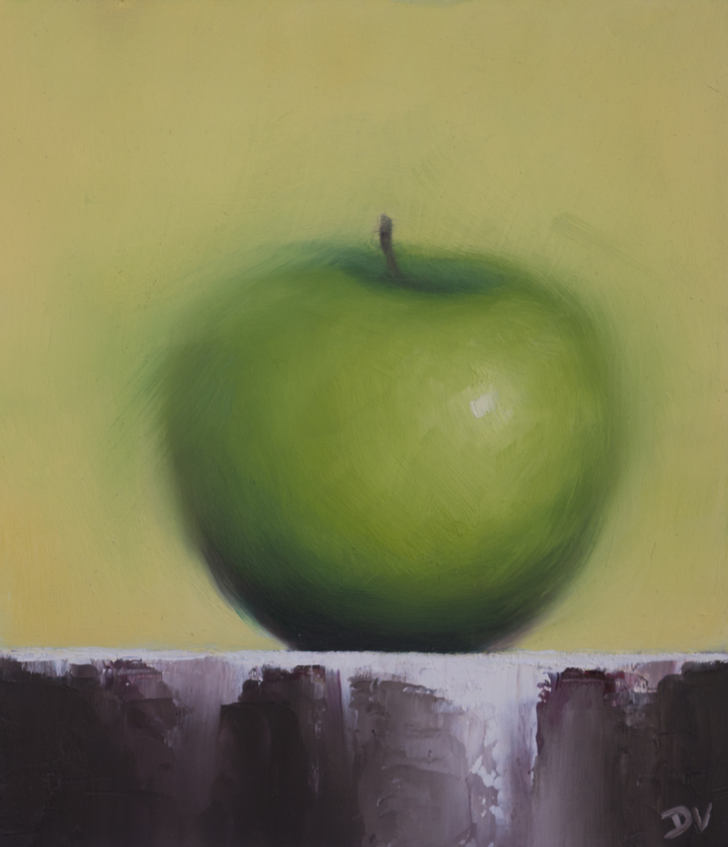 (CreativeWork) Still life Apple by Damien Venditti. oil-painting. Shop online at Bluethumb.