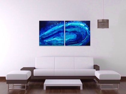 (CreativeWork) Blue Galaxy by Olena Bloomfield. mixed-media. Shop online at Bluethumb.