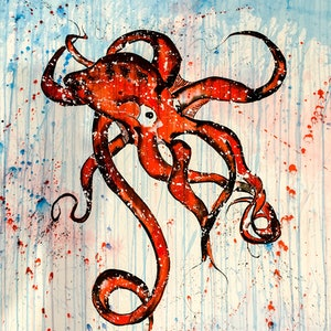 (CreativeWork) Blue-Ringed Octopus 2.0 by Leith Kennedy. Mixed Media. Shop online at Bluethumb.