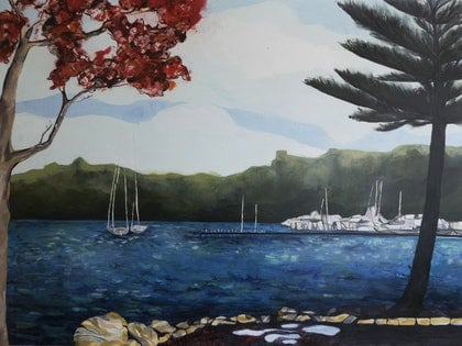 (CreativeWork) Moored (Freshwater Bay) by Amy Deering. mixed-media. Shop online at Bluethumb.
