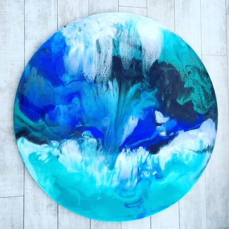 (CreativeWork) Tahitian Waters by Joey Davis. Resin. Shop online at Bluethumb.