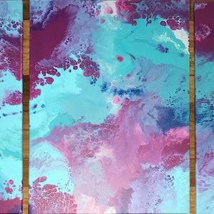 """(CreativeWork) ORIGINAL ABSTRACT TRIPTYCH ART PAINTINGS ON STRETCHED CANVAS  """"SHINE""""  TURQUOISE WHITE FUCHSIA PINK PURPLE by Debra Ryan. mixed-media. Shop online at Bluethumb."""