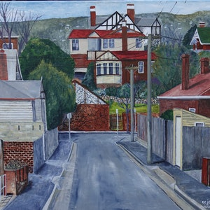 (CreativeWork) Flinders Lane, Sandy Bay by Christopher Johnston. arcylic-painting. Shop online at Bluethumb.