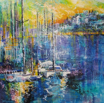 (CreativeWork) Manly Marina Sunset by De Gillett. mixed-media. Shop online at Bluethumb.