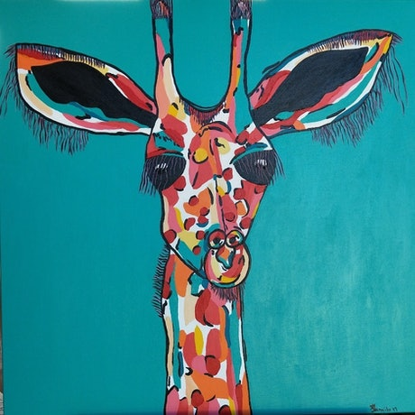 (CreativeWork) 'Shirley' the Giraffe by dMilo .. Acrylic Paint. Shop online at Bluethumb.
