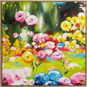 (CreativeWork) Charming Gardeners by Tanya Keenan. arcylic-painting. Shop online at Bluethumb.