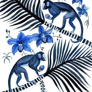 (CreativeWork) Indigo Monkeys, Cymbidium Orchids and Palms  by Sally Browne. other-media. Shop online at Bluethumb.