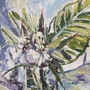 (CreativeWork) White flowers in a vase by Julia Sorokina. arcylic-painting. Shop online at Bluethumb.