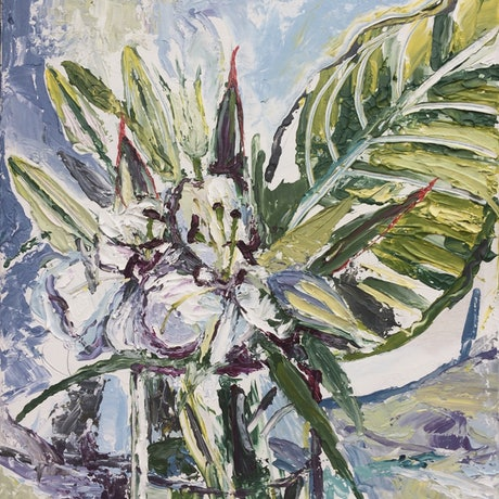 (CreativeWork) White flowers in a vase by Julia Sorokina. Acrylic Paint. Shop online at Bluethumb.