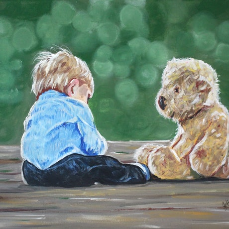 (CreativeWork) Chillin' with my Best Friend by julie hollis. Acrylic Paint. Shop online at Bluethumb.