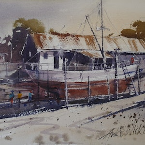 (CreativeWork) FISHING BOAT ON SLIPWAY by Anki Wickison. watercolour. Shop online at Bluethumb.