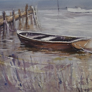 (CreativeWork) THE OLD DINGHY  by Anki Wickison. watercolour. Shop online at Bluethumb.