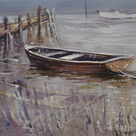 (CreativeWork) THE OLD DINGHY  by Anki Wickison. Watercolour Paint. Shop online at Bluethumb.