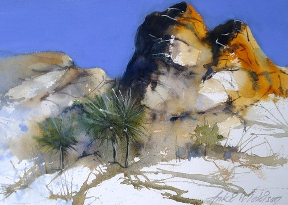 (CreativeWork) GOLDEN ROCKS by Anki Wickison. Watercolour Paint. Shop online at Bluethumb.