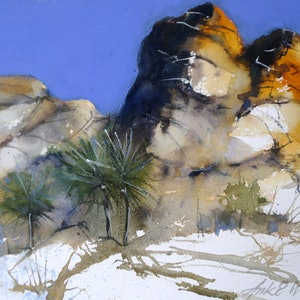 (CreativeWork) GOLDEN ROCKS by Anki Wickison. watercolour. Shop online at Bluethumb.