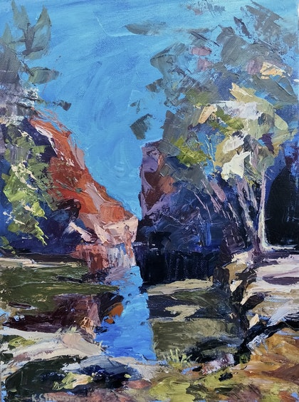 (CreativeWork) Ormiston Gorge by Ekaterina Strounina. arcylic-painting. Shop online at Bluethumb.