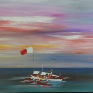 (CreativeWork) Pilot Boat at Puerto Princesa, Philippines by Ralph Coles. oil-painting. Shop online at Bluethumb.