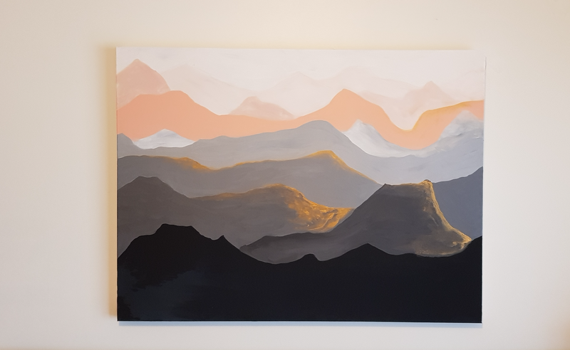 (CreativeWork) Mountains by Michelle Baumann. arcylic-painting. Shop online at Bluethumb.