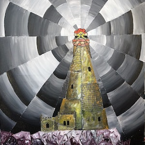 (CreativeWork) The Byron Bay Lighthouse by Anna Edwards. arcylic-painting. Shop online at Bluethumb.