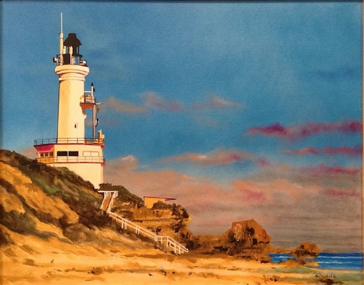 (CreativeWork) Harbour Light, Point Lonsdale Lighthouse, VIC. by John Gambardella. #<Filter:0x000055ad6514a718>. Shop online at Bluethumb.