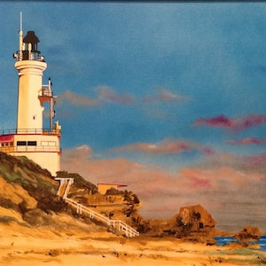 (CreativeWork) Harbour Light, Point Lonsdale Lighthouse, VIC. by John Gambardella. Acrylic Paint. Shop online at Bluethumb.